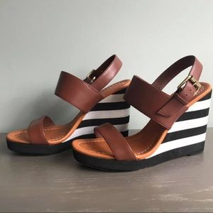 Kate Spade Wedge Sandals (tan, black and white)